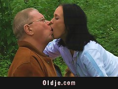 Scandalous Old And Young Fuck In The Garden